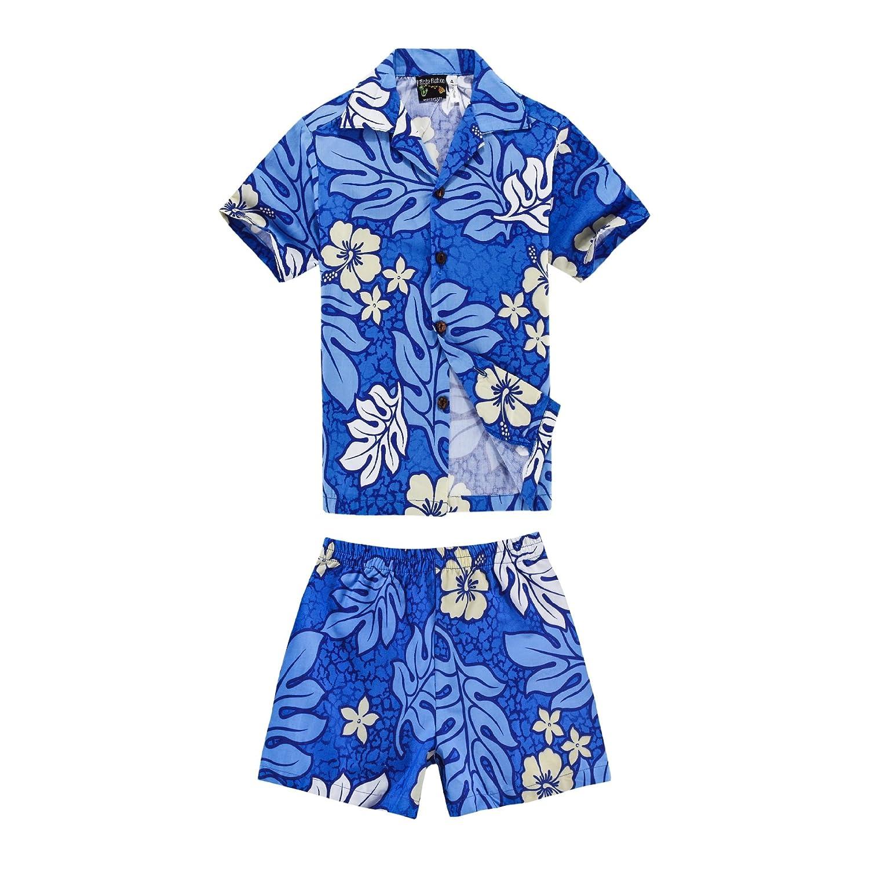 Boy Hawaiian Luau Shirt and Shorts Cabana Set in Floral Patterns