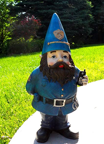 Sheriff Police Policeman Gnome Garden Statue Figure Accent 13.5u0026quot; X  8u0026quot; Troll