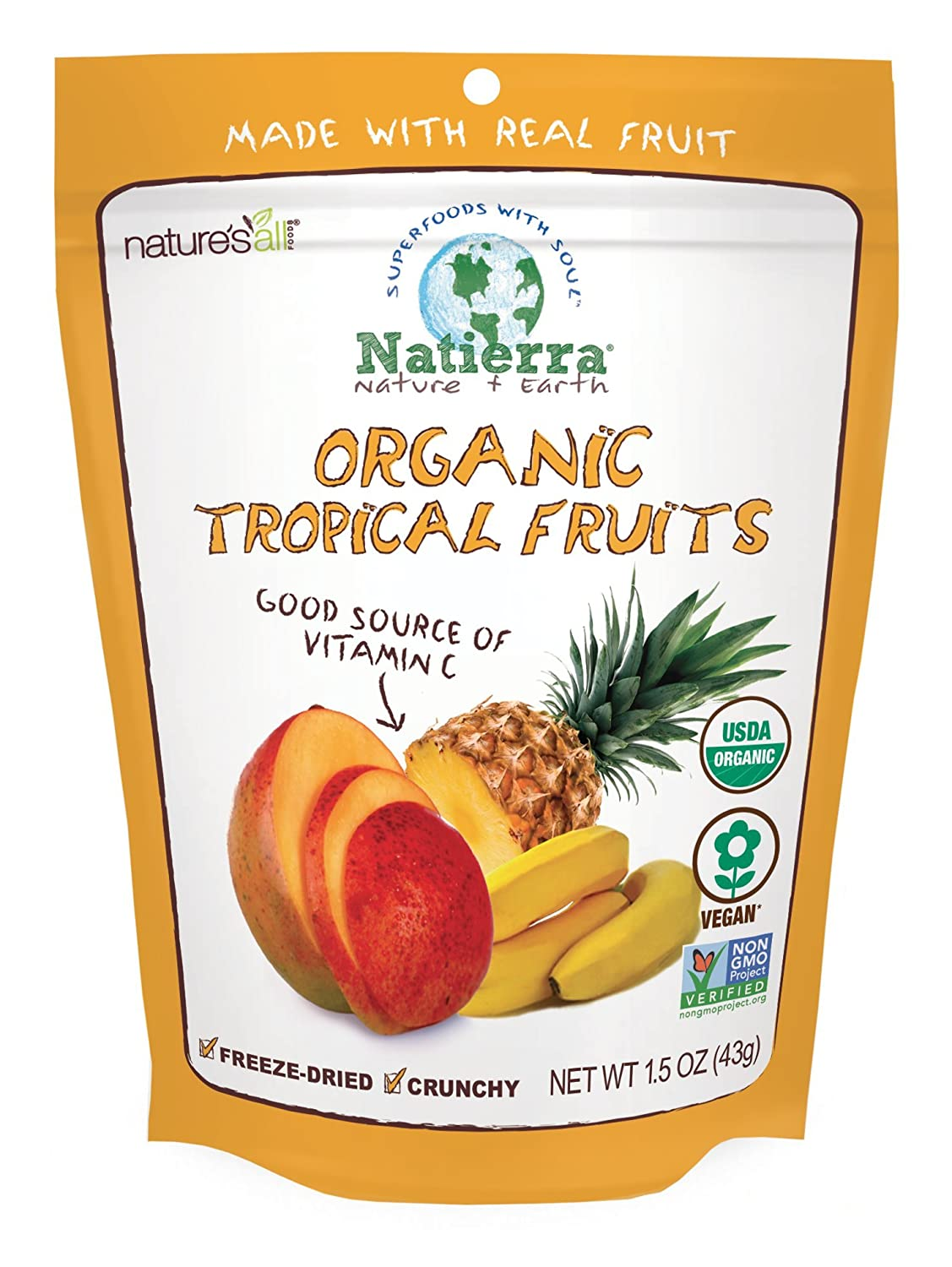 Natierra Nature's Organic Freeze-Dried Tropical Fruits | Gluten Free & Vegan | 1.5 Ounce