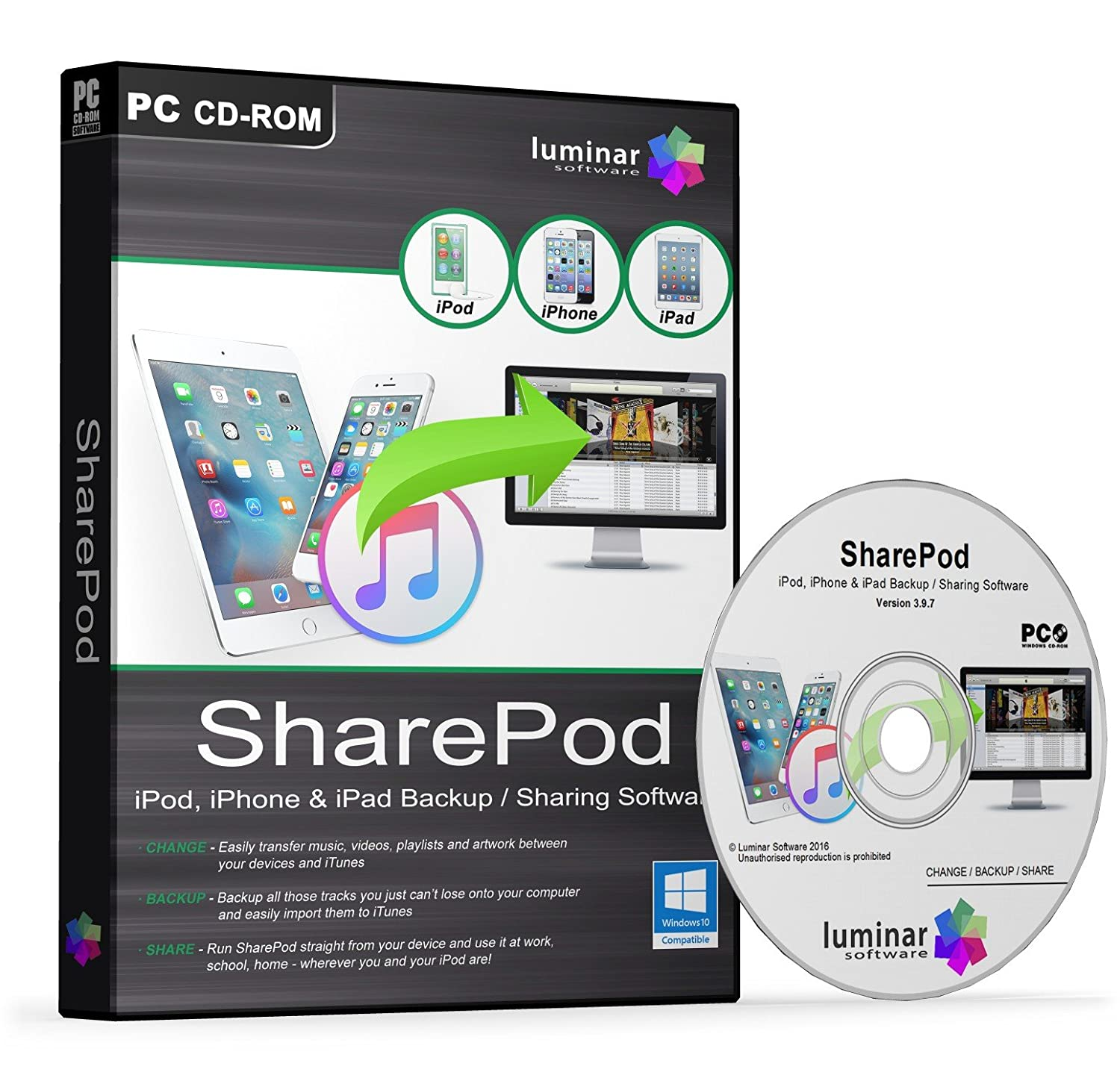 SharePod - iPod, iPhone & iPad Backup / Recovery / Sharing / Transfer  Software (PC) - BOXED AS SHOWN