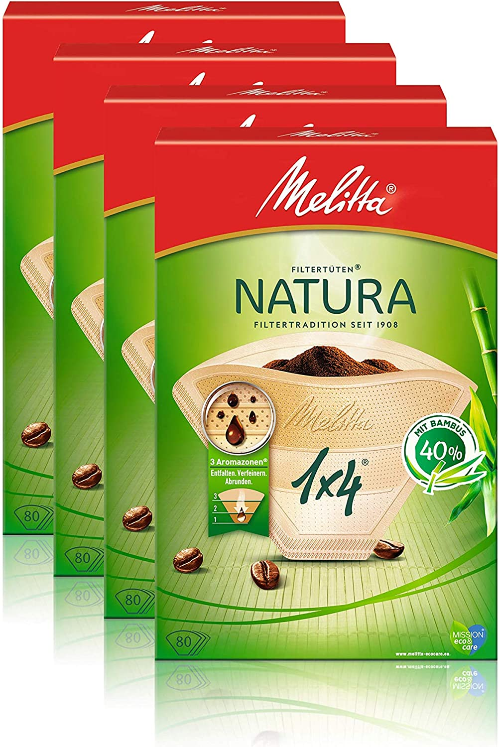 Melitta Filter Bags 1 x 4/80 Natural Brown Aroma Pack of 4