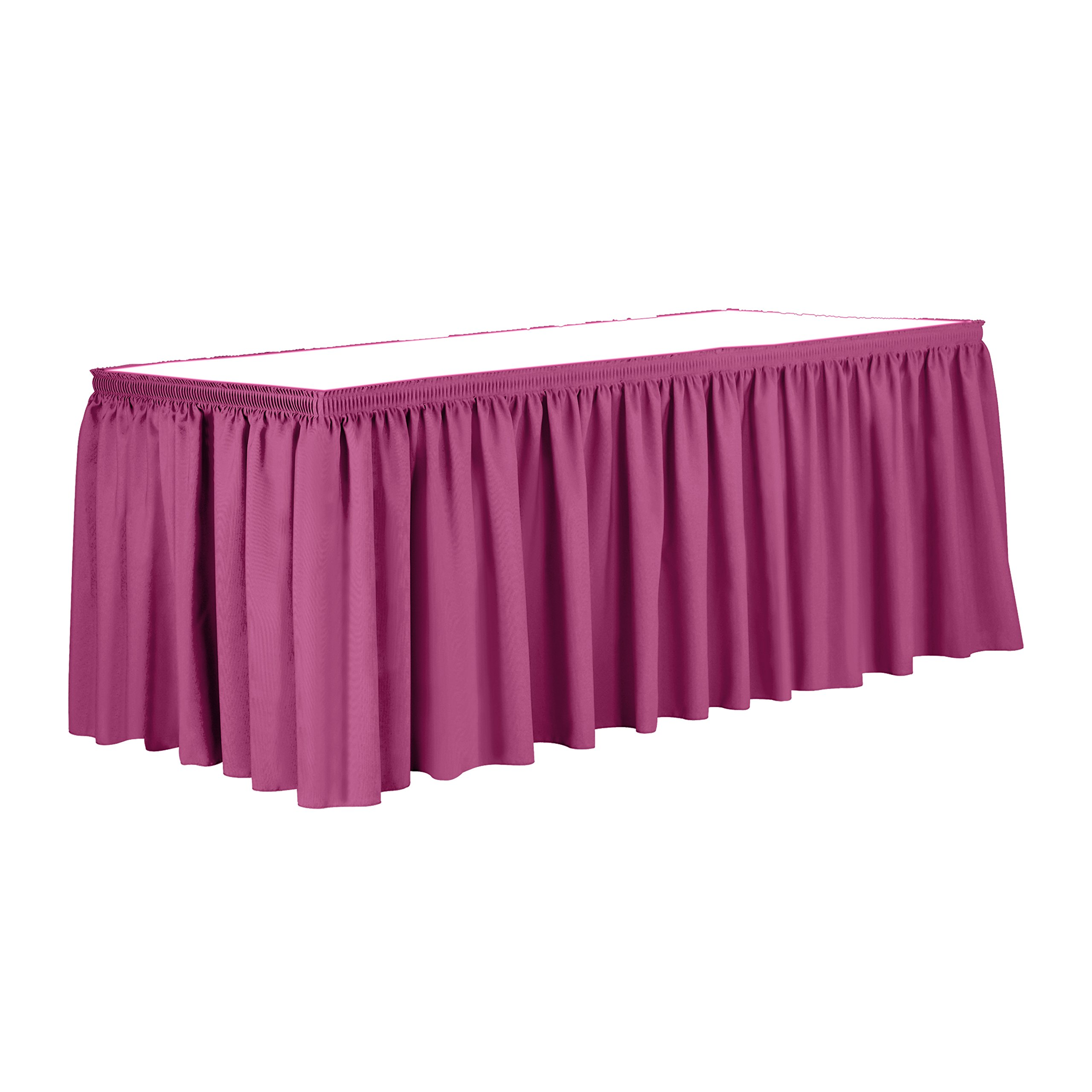 Ultimate Textile 21 ft. Shirred Pleat Polyester Table Skirt - 36'' Counter Serving Height, Watermelon