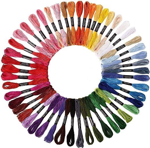 Hilos de bordar,50 Colores Algodón Bordado Kit de Hilos Cross ...