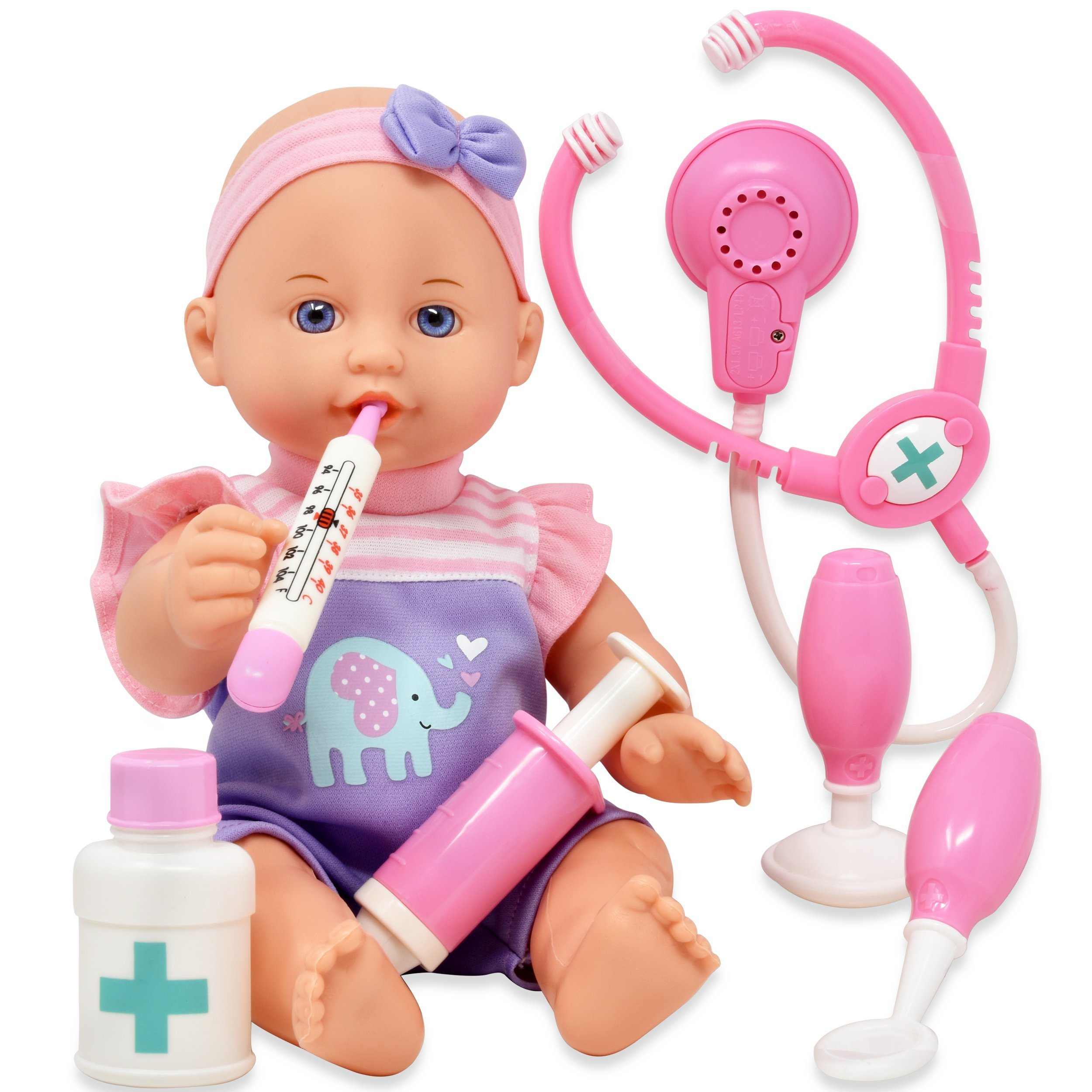 Pretend Play Medical Set, Baby Doll Doctor Kit for Kids Includes 12 Inch Doll, Talking Stethoscope, Thermometer, Needle, Medicine Bottle, Stick and Hammer-Complete Accessories for Toddlers Boy Girl by Dolls To Play