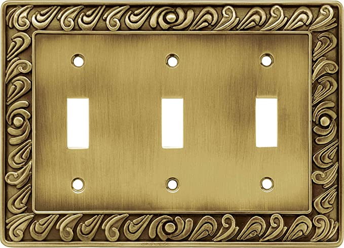 Franklin Brass 64055 Paisley Triple Toogle Switch Wall Plate Switch Plate Cover Tumbled Antique Brass Triple Light Switch Cover Amazon Com