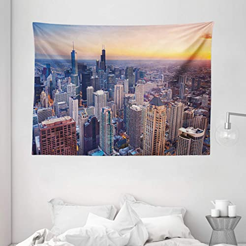Ambesonne American Tapestry, Aerial View of Chicago City Downtown with High Skyscrapers at Sunset Midwest, Wide Wall Hanging for Bedroom Living Room Dorm, 80 X 60 , Blue Yellow