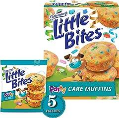 Entenmann's Little Bites Party Cake Mini Muffins, Funfetti Snacks, 5 pouches