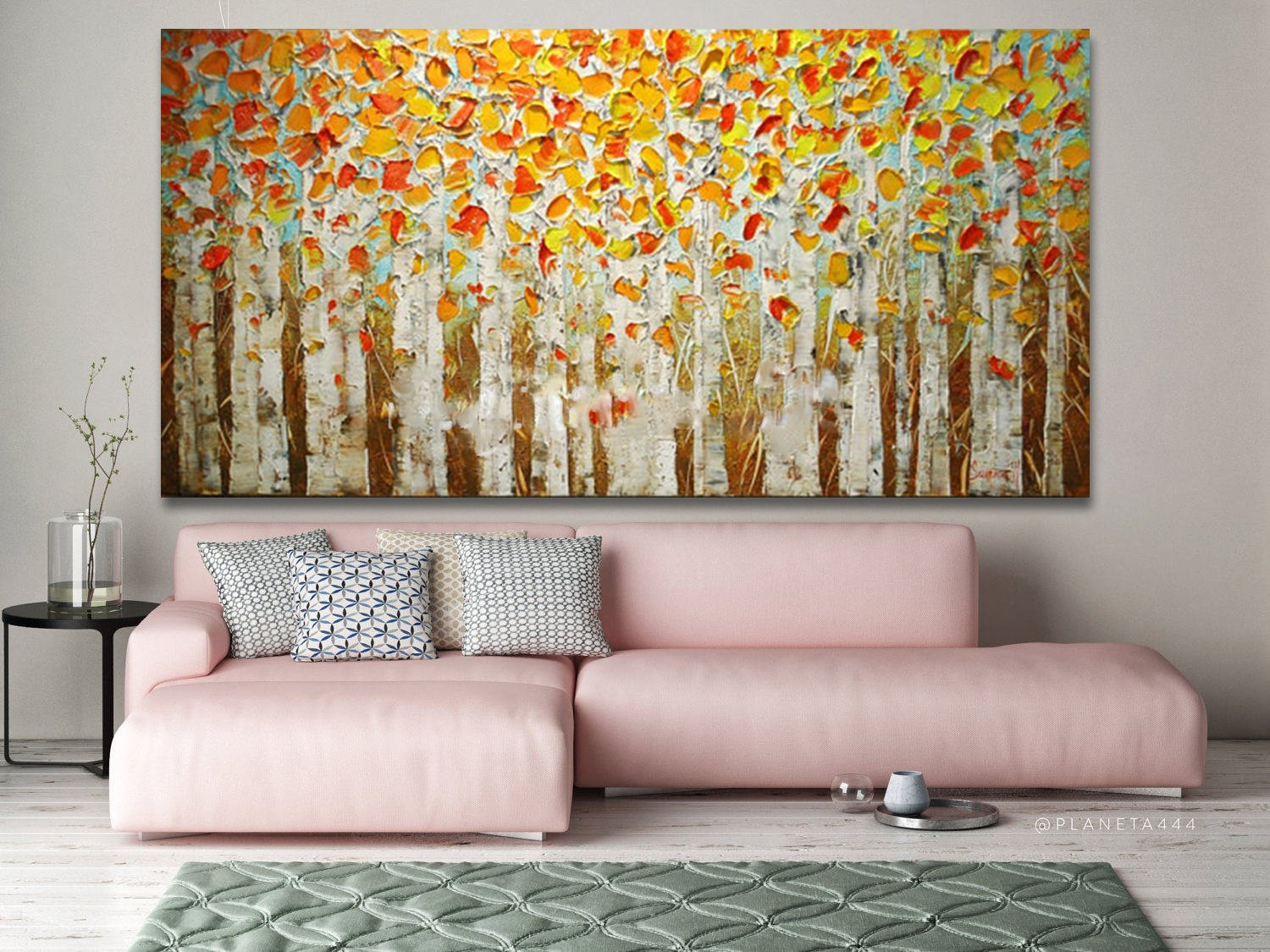 Hand Painted Wall Art Yellow Birch Oil Painting Decor On Canvas Thick Palette Knife Painting Abstract Art by Fchen Art