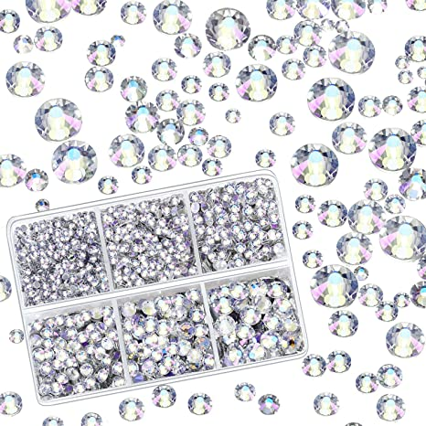 Clear Color 4000 Pieces Mixed Size Hot Fix Round Crystals Gems Glass Stones Hotfix Flat Back Rhinestones