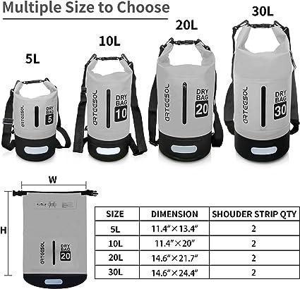 arteesol Dry Bag 5L / 10L / 20L / 30L Bolsa seca impermeable con doble correa para el hombro para nadar, kayak, canotaje, pesca, viaje, ciclismo, ...