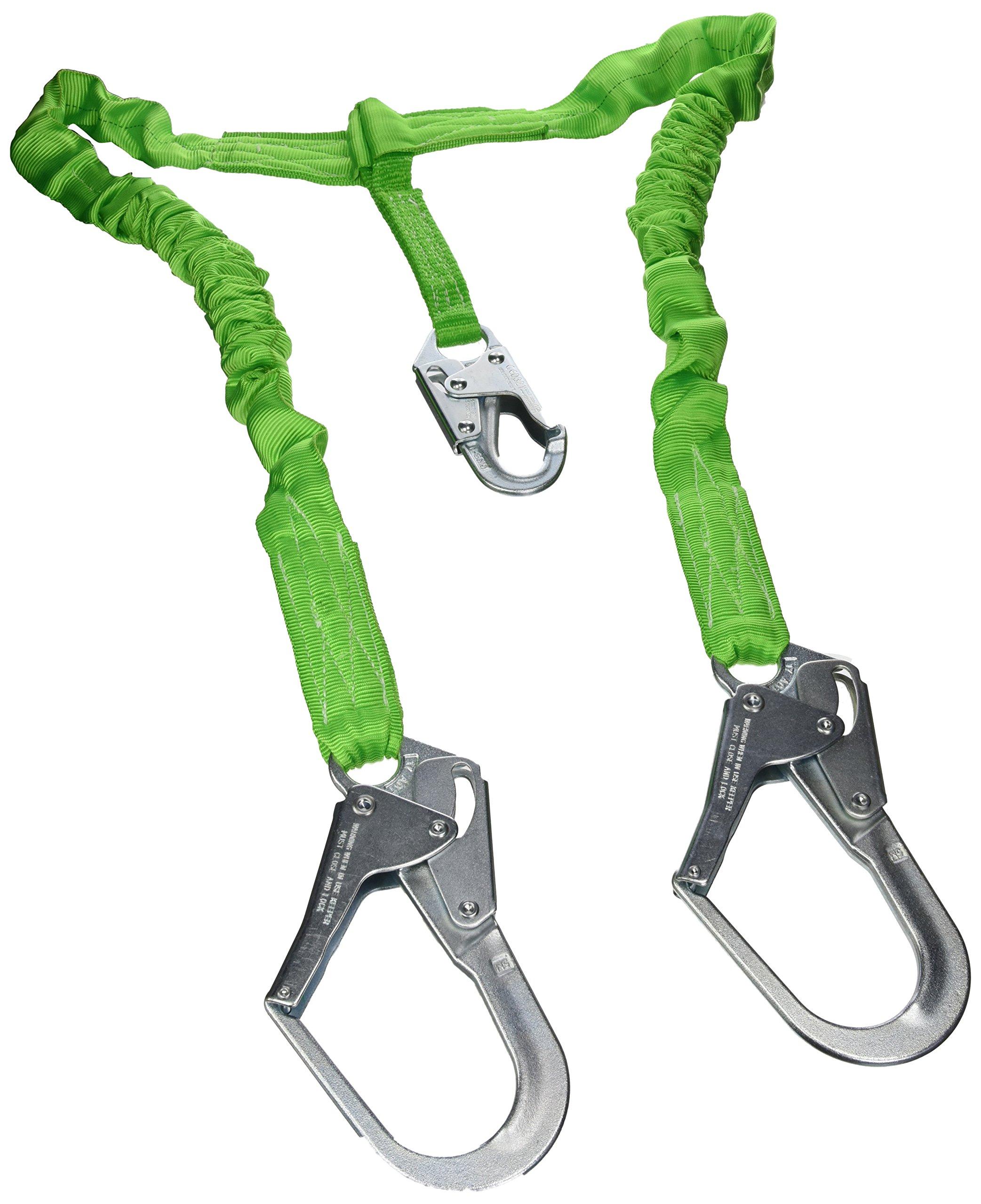 Miller by Honeywell 231M/5FTGN 5-Feet Manyard II Shock-Absorbing Stretchable Web Lanyard with 2-1/2-Inch Locking Rebar Hook, Green