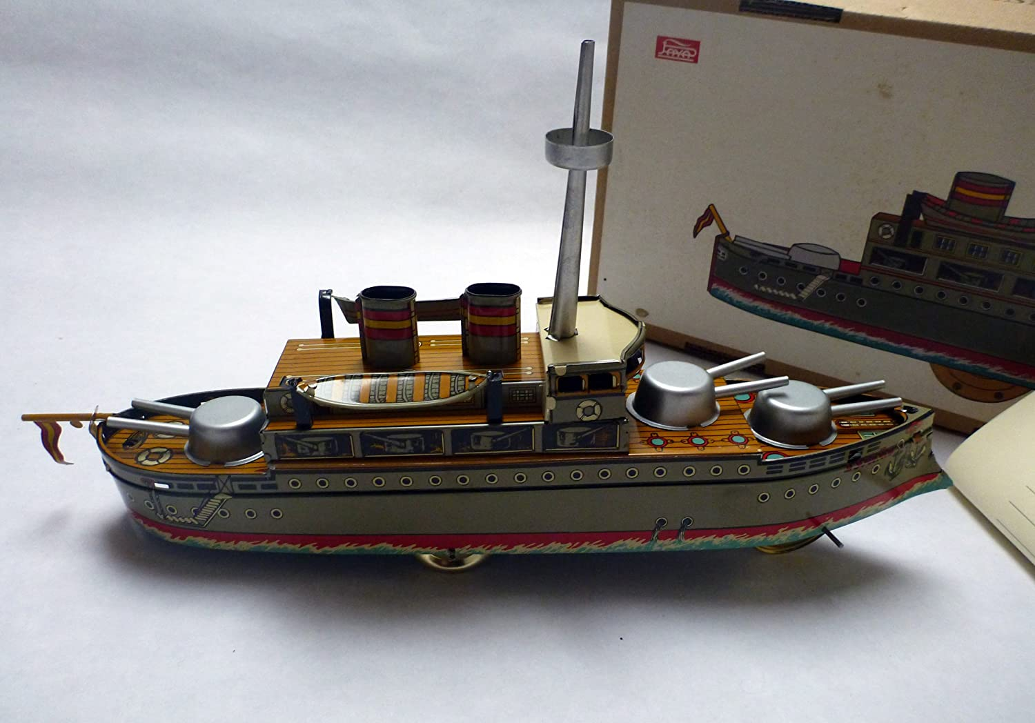 dynamic24 Paya Kreuzer, Battle Ship 1928, 34 cm, Original neuauflage, arroz Sue 1985, chapa de juguete para coleccionistas, Tin Plate Toy for Collectors