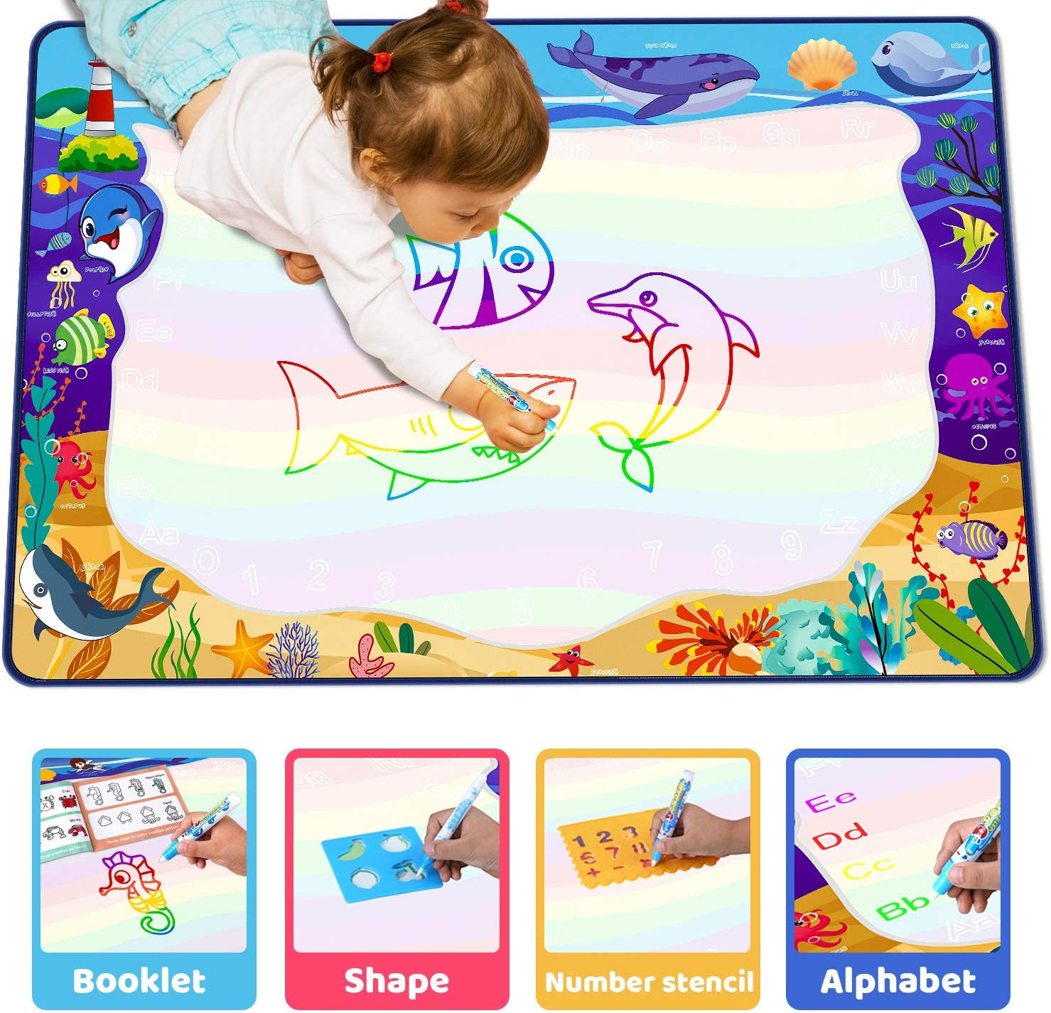 NONZERS Aqua Magic Doodle Mat Wonderful Gift Kids Painting Writing Doodle Board Toy with Water Pens for Kids Toddlers Educational Toy Extra Large 59 X 39 Inches Water Painting Drawing Mat