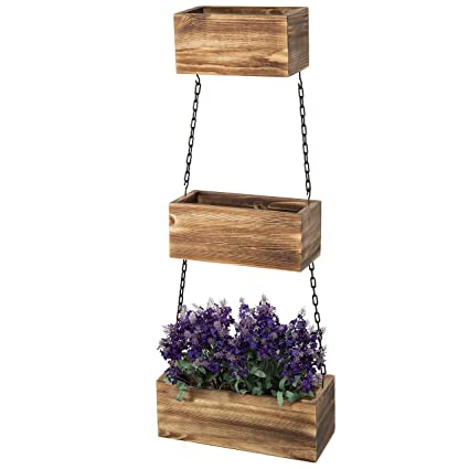 Mygift Wall Hanging Rustic Wood 3 Tier Planter Boxes With Black Metal Chains