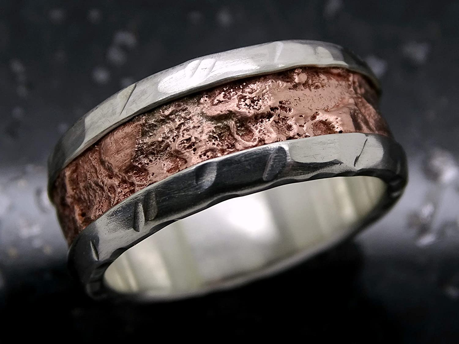 Mens Wedding Band Cool Mens Ring Copper Silver Unique Mixed Metal Ring Rugged Mens Ring Engagement Ring For Men Anniversary Gift For Him Rings Wedding