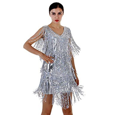 61f4245ecd0 Blingstory Lady s Ballroom Dancewear V Neck Sequin Fringe Flapper Latin  Dance Dresses For Women Salsa(