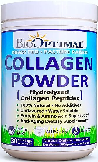 7dc14d6415297 BioOptimal Collagen Powder, Collagen Peptides Grass Fed, Non-GMO Premium  Quality Hydrolyzed...