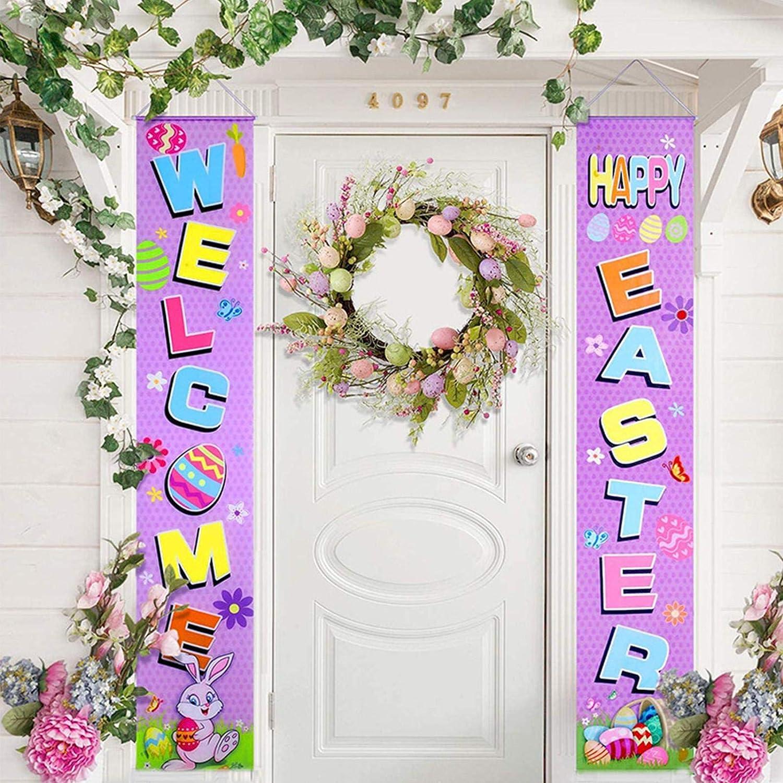 Signe De Porche De P/âques Et Ensemble De Banni/ère De Porte P/âques Bienvenue Signe Suspendu Pour Lornement Int/érieur Ext/érieur De Printemps Maison Yestter D/écorations De Banni/ère De P/âques