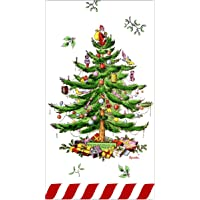 spxCg32 Spode Christmas Tree Paper Dinner Napkins Guest Towels, 32 Ct, Candy Cane Border by C.R Gibson