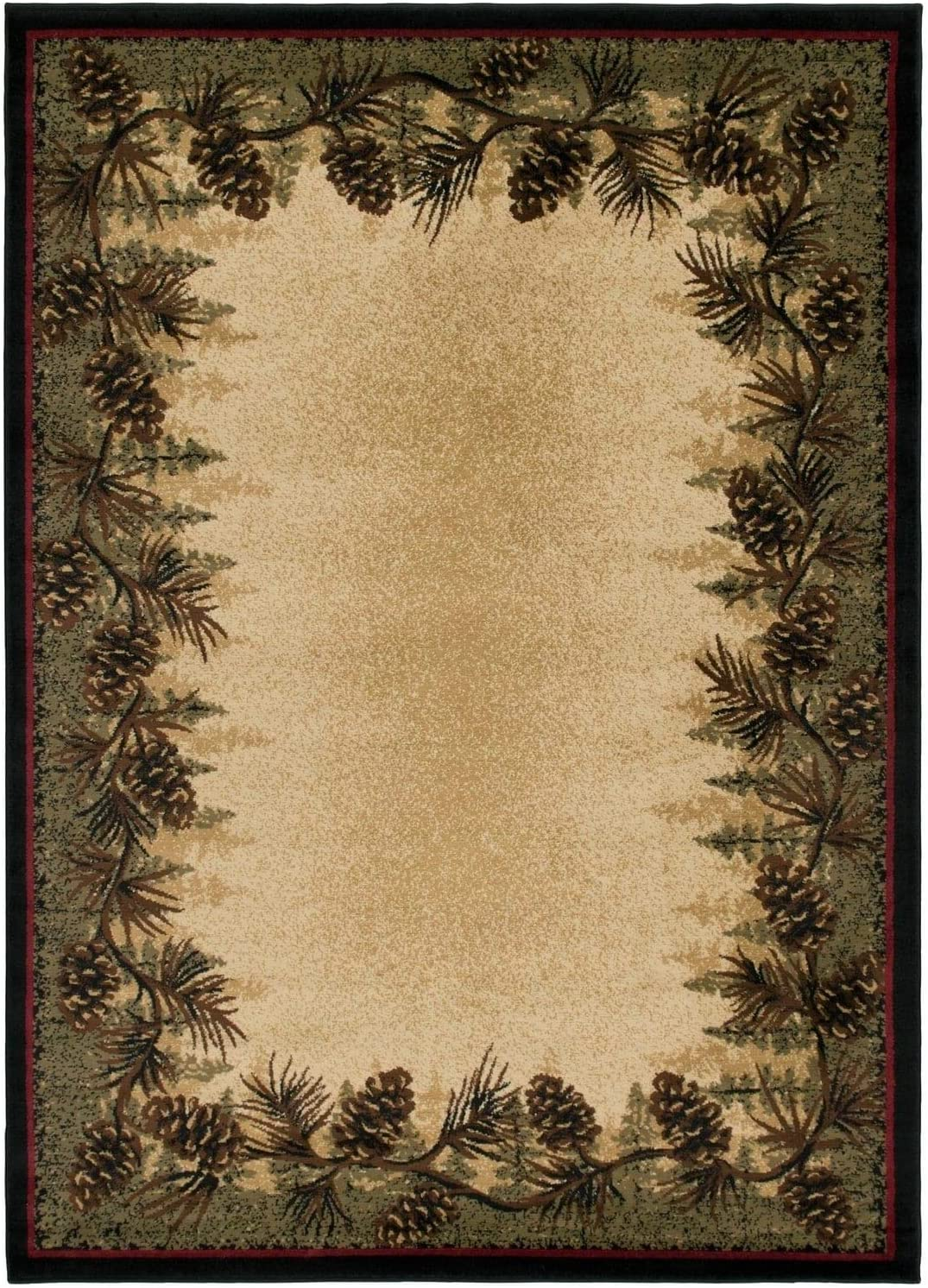 """Rustic Lodge Cabin Pine Cone Area Rug - Multi 3'11"""" X 5'3"""" Nature Novelty Rectangle Polypropylene Contains Latex Stain Resistant"""