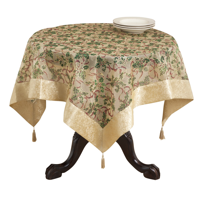 SARO LIFESTYLE XJ378 Xmas Oblong Tablecloth Gold XJ378.GL65140B 65-Inch by 140-Inch