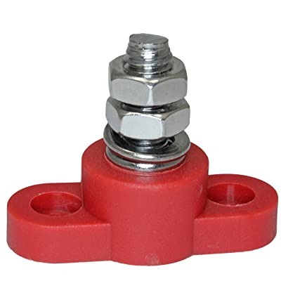 Positive Insulated Battery Power Junction Post Block 3/8 Lug X 16 thread (Red): Automotive