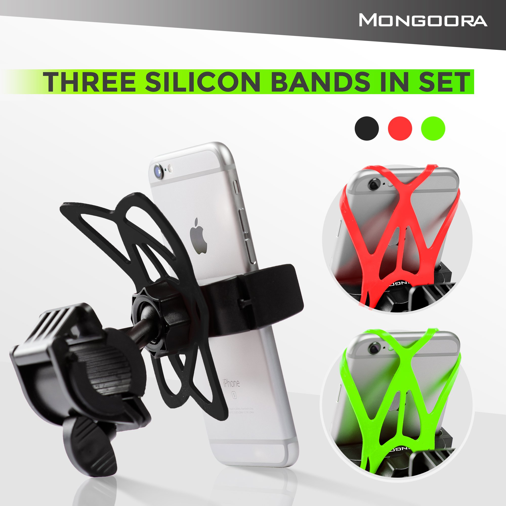 Bike Phone Mount for any Smart Phone: iPhone X 8 7 6 5 plus Samsung Galaxy S9 S8 S7 S7 S6 S5 S4 Edge, Nexus, Nokia, LG. Motorcycle, Bicycle Phone Mount. Mountain Bike Mount. Bike Accessories. by Mongoora (Image #6)