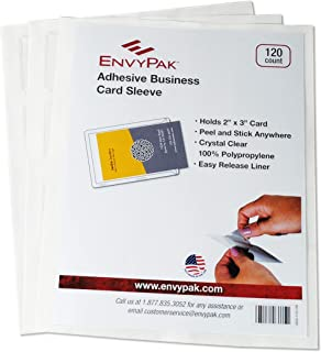 """product image for EnvyPak Business Card Pocket/Holder, Peel and Stick Adhesive, Side Loading, Clear - Holds 2"""" x 3.5"""" Cards - Box of 120"""
