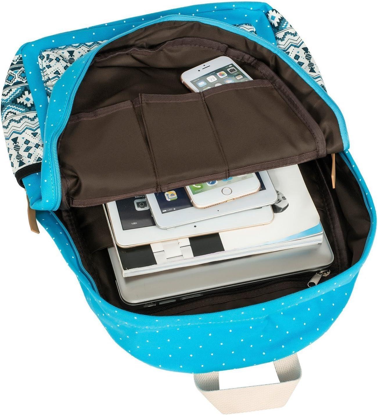 Deep Blue WKBY Women Backpack Canvas School Bag For Girls Teenagers Laptop Bag 3pcs//Set
