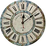 "Large Decorative Wall Clock,Silent Wall Clock Non Ticking for Living Room Kitchen Bathroom Bedroom Wood Round Vintage Decor 13.5"" RELIAN"