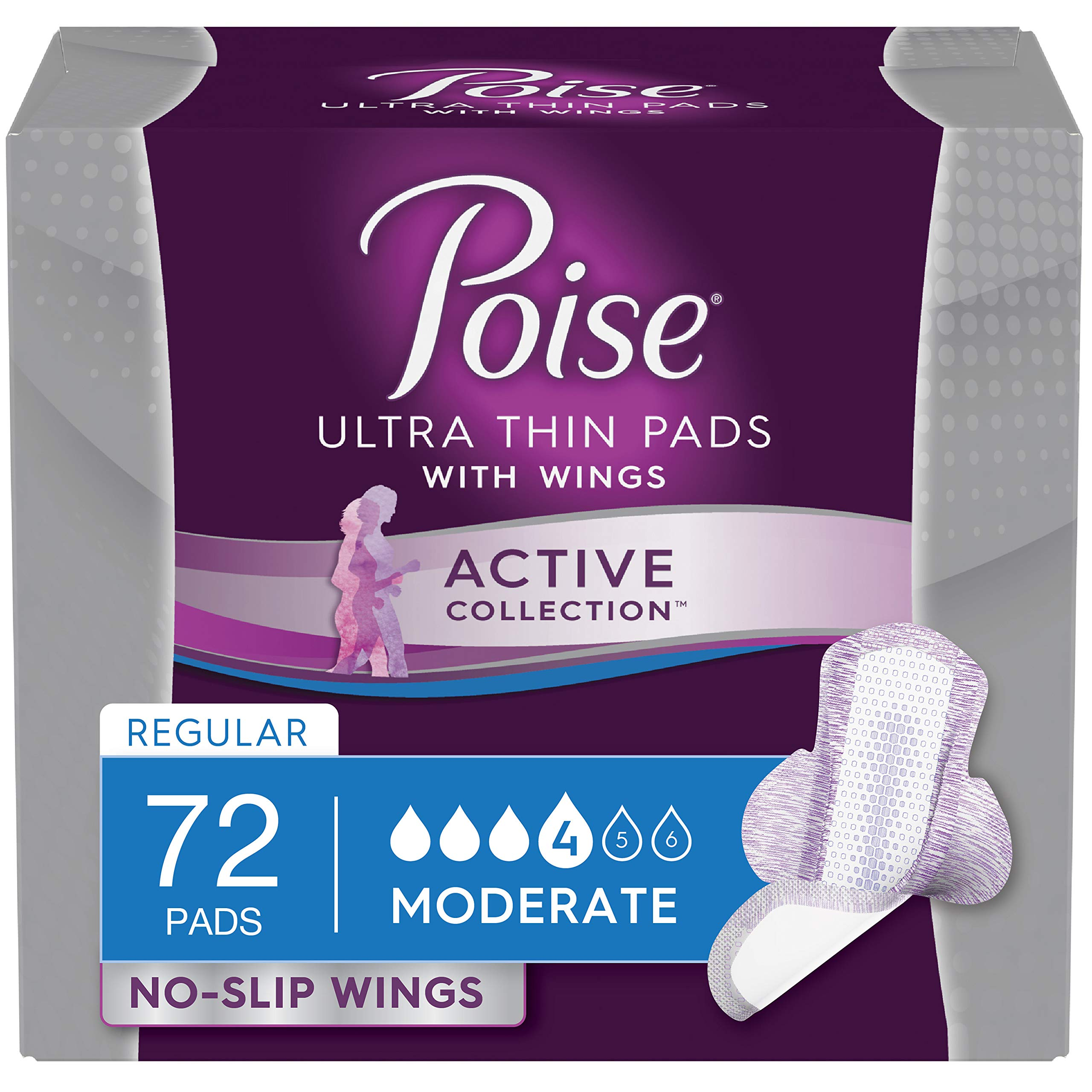 Poise Active Collection Incontinence Pads with Wings, Moderate Absorbency, 72 Count