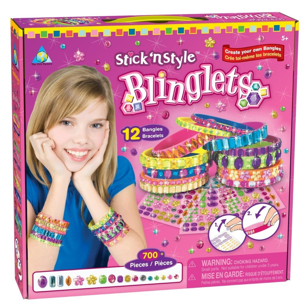 Stick and Style Blinglets Includes 12 assorted ready to decorate Blinglets, plus over 700 sparkling jewel stickers. The award winning line of Sticky Mosaic craft kits will delight all ages and all skill levels