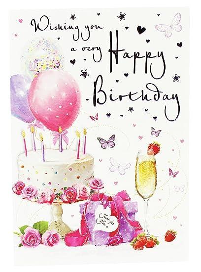 Happy Birthday Card For Friend.Happy Birthday Wishes Greeting Card Verse Ladies Girls Friend Her Glitter Pink