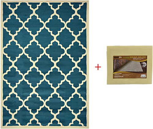 Trellis Area Rug With Pad Moroccan Design Non-skid Rug Pad Petrol Blue, 4 9 x6 10