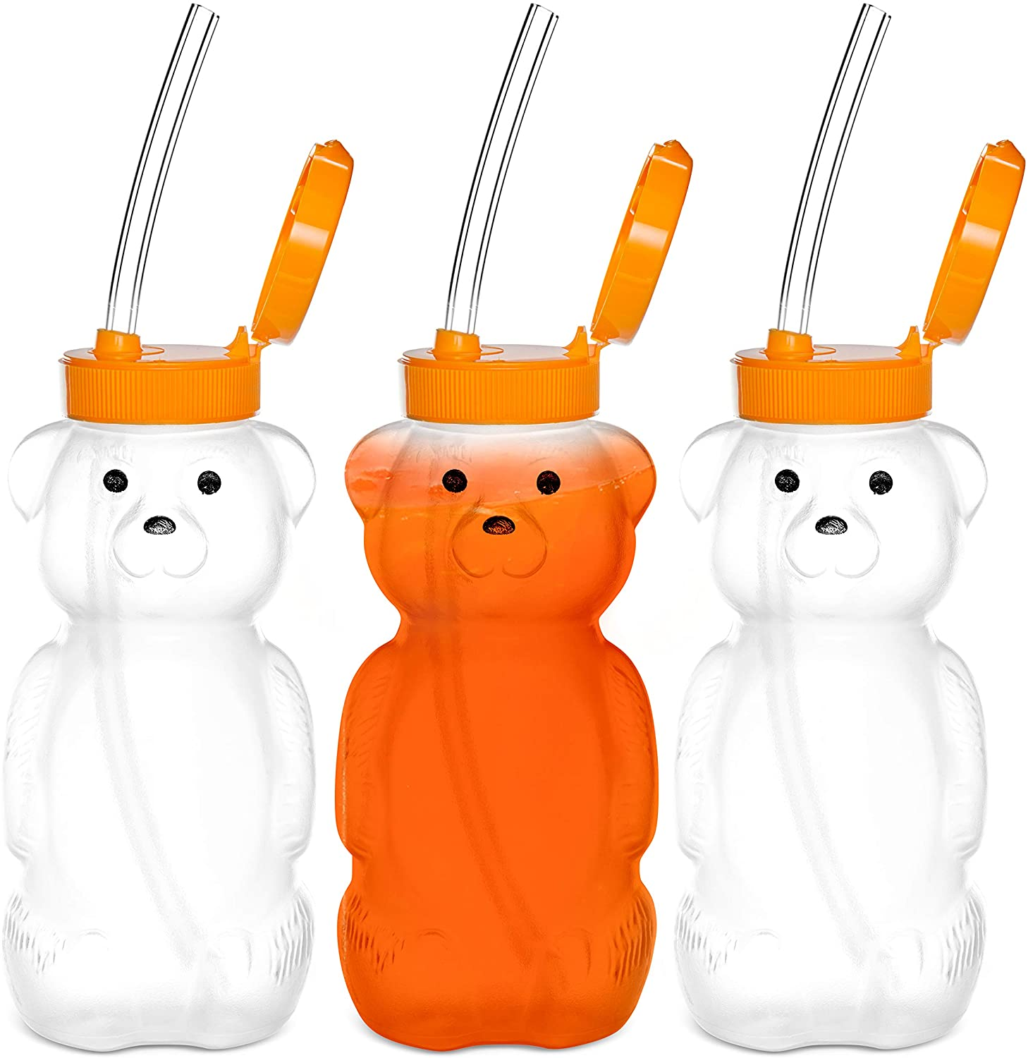 Special Supplies Juice Bear Bottle Drinking Cup with Long Straws, 3 Pack, Squeezable Therapy and Special Needs Assistive Drink Containers, Spill Proof and Leak Resistant Lids