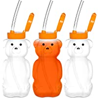 Special Supplies Juice Bear Bottle Drinking Cup with Long Straws, 3 Pack, Squeezable Therapy and Special Needs Assistive…