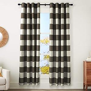 AmazonBasics Room-Darkening Blackout Curtain Set with Grommets - 52