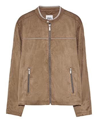 Zara Men S Faux Suede Jacket With Piping 8281 455 Beige Amazon Co