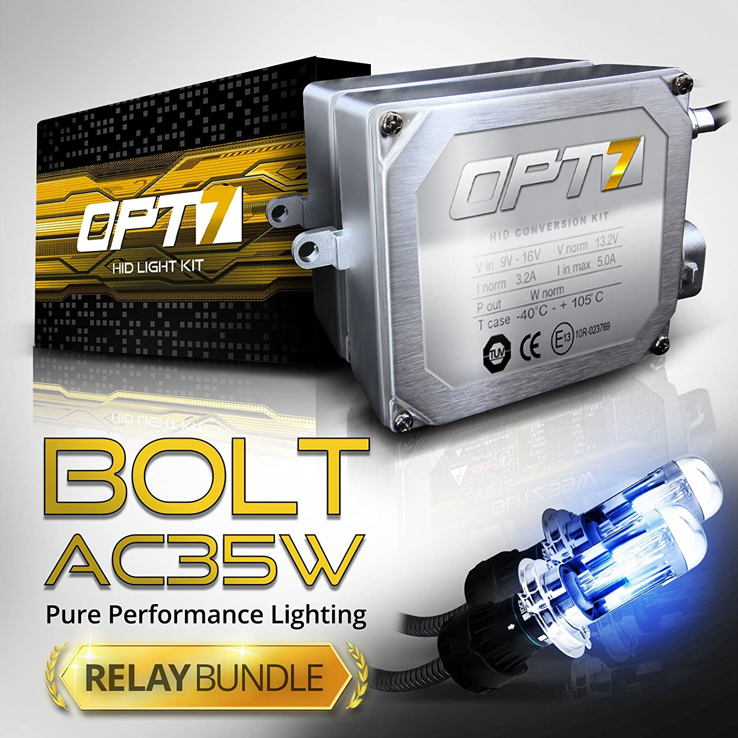 amazon com opt7 bolt ac 35w h4 9003 bi xenon hid kit relay rh amazon com