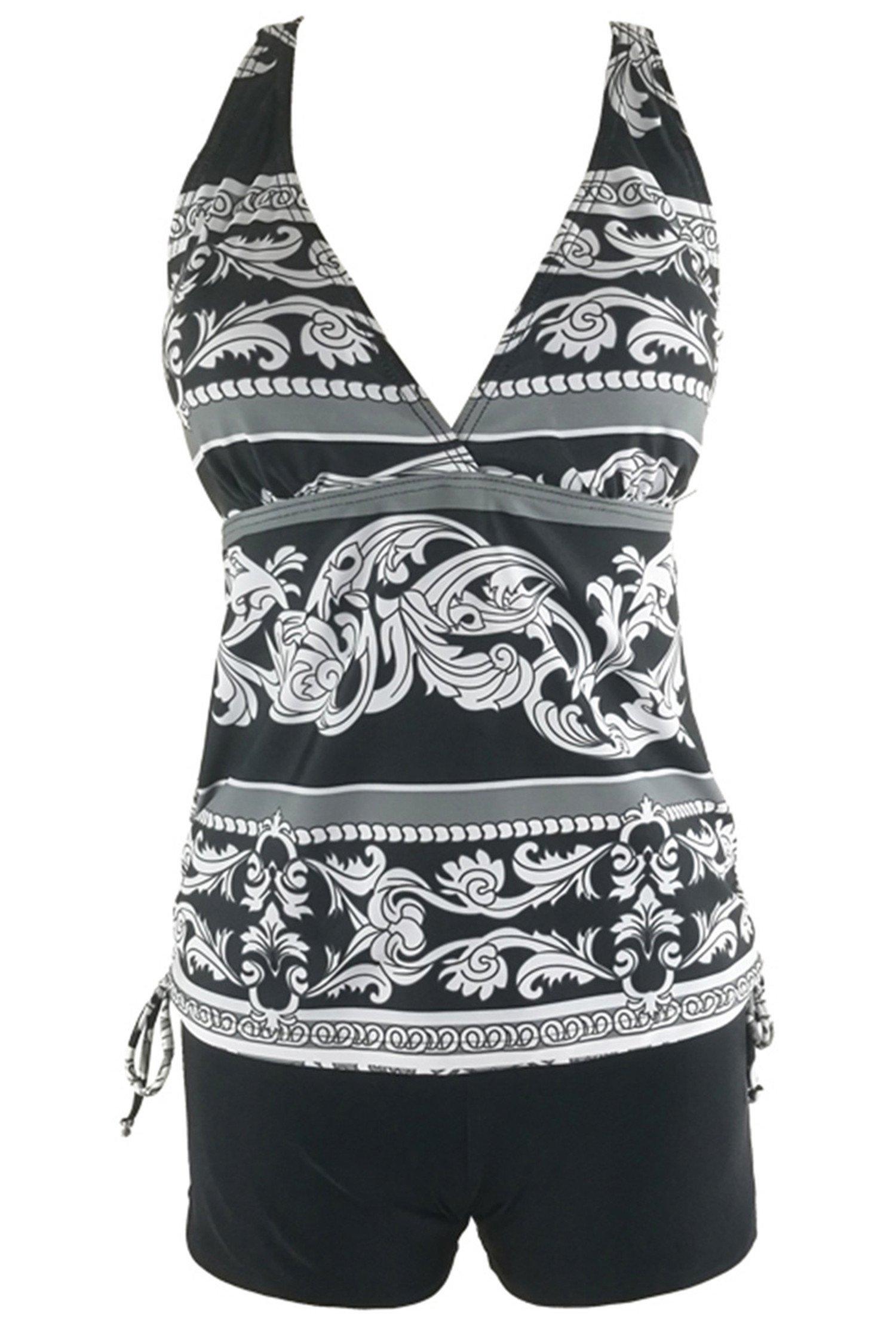 Urban Virgin Womens 2 Piece Bikini Spaghetti Strap Printed Padded Tank Top Tankini Swimsuits For Women,Black Flower,S(US:4-6)