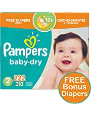 Pampers Diapers Size 2, Baby Dry Disposable Baby Diapers, 222 Count PLUS LIMITED TIME BONUS DIAPERS