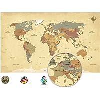 Viejo Mundo Mapa en Vintage Look XXL–cuadro en
