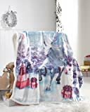 Christmas Xmas Throw Double Size For Sofa Bed Fleece Large 2 Seaters Blanket 130 x 170cm Bedding[Christmas Unicorn]