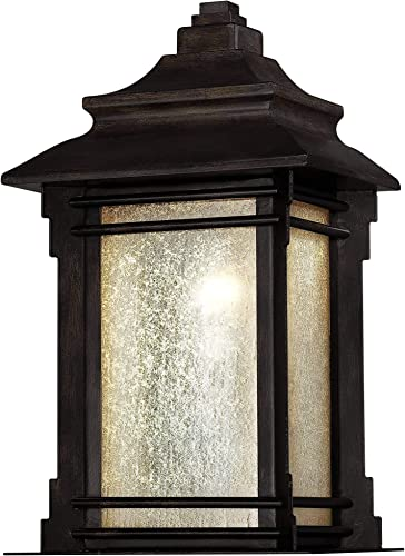 Hickory Point Rustic Farmhouse Outdoor Wall Light Fixture Walnut Bronze 16 1/2″ Frosted Cream Gla