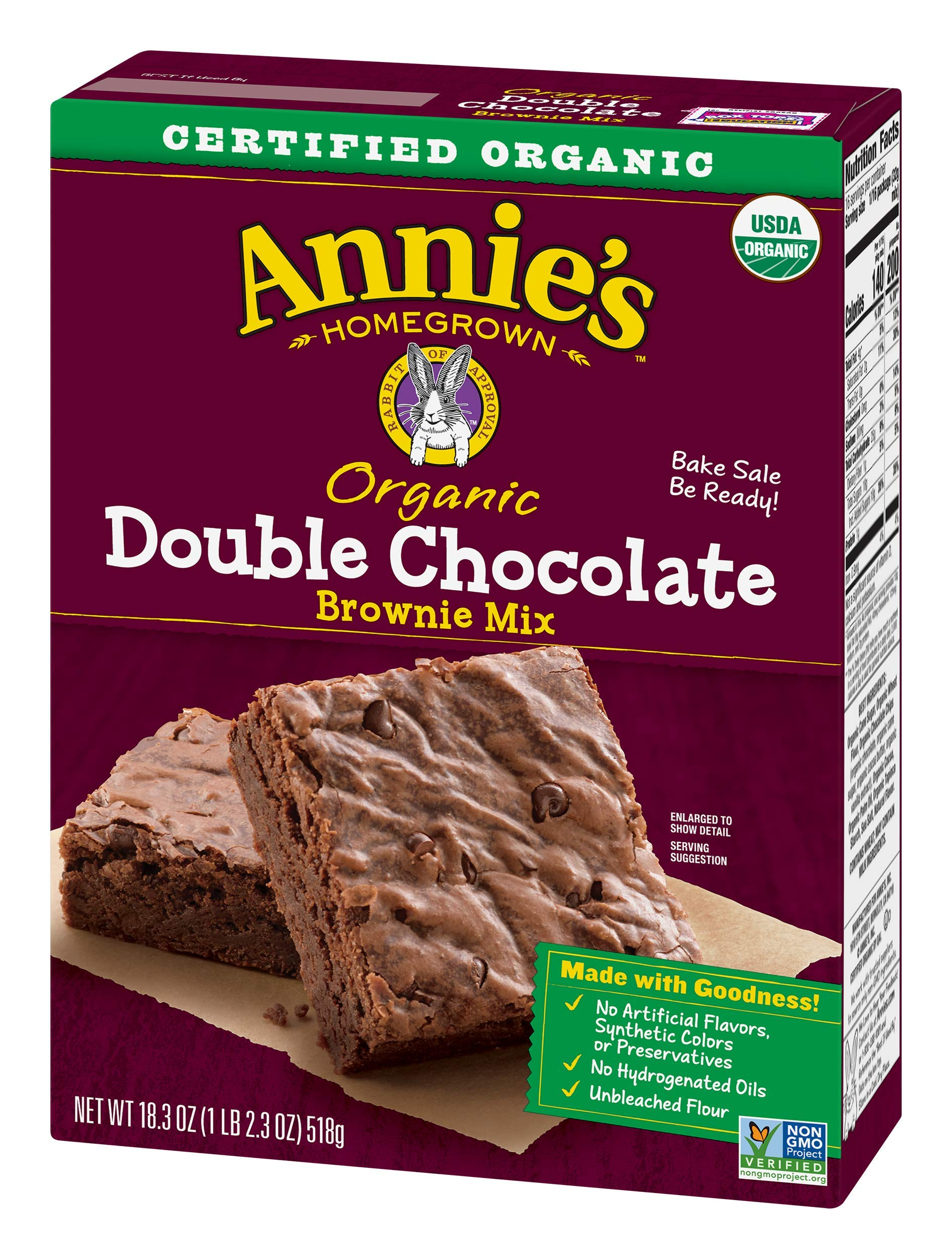 Annie's Double Chocolate Brownie Mix Box, 18.3 Ounce (Pack of 8)