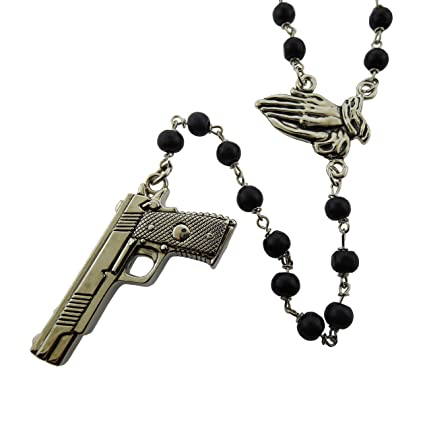 8aa144fd1 Amazon.com : Gun Praying Hands Rosary Rock Rebel Original Logo Metal Gothic  Tattoo Tribal : Sports & Outdoors