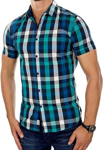 JACK & JONES Hombre Camisa jorrunning Manga Corta, Cuadriculado Kent Slim Fit 2515 (XX Large, Color Turquesa (Viridian Green Fit: Slim)): Amazon.es: Ropa y accesorios