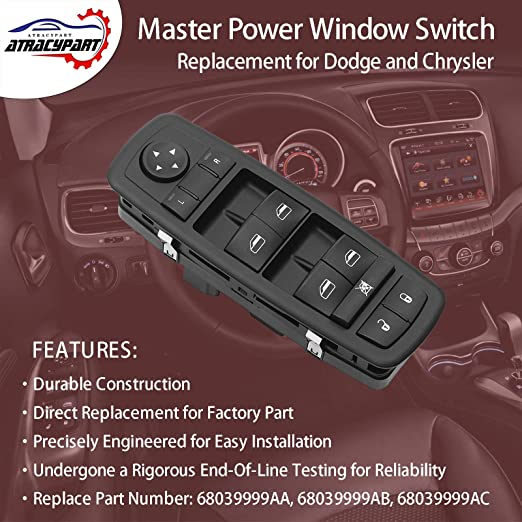 3 PINS + 0 PIN Duolctrams 4602535AC Driver Side Master Power Window Switch Replacement for 2008-2009 Chrysler Town /& Country Dodge Grand Caravan