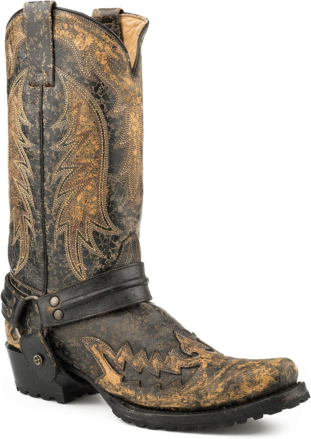 mens distressed black leather boots