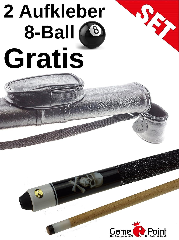 Billardset 2 Aufkleber 8-Ball Gratis Pool Queue Black Death mit K/öcher 1.1 Oval-Schwarz mit Schultergurt und Abnehmbarer Tasche GamePoint Angebot